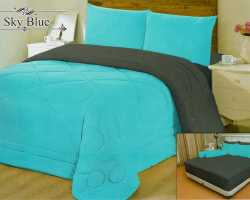 Grosir Sprei VALLERY - Sprei Dan Bed Cover Vallery Sky Blue