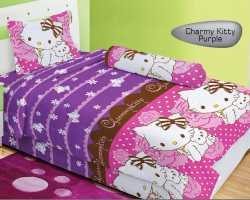 Grosir Sprei LADY ROSE SINGLE - Sprei Dan Bed Cover Lady Rose Single Charmy Kitty Purple